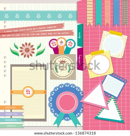 floral diary scrapbook elements - stock vector