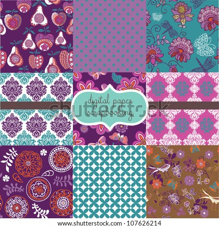 Floral Digital Scrapbook Paper - stock vector