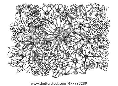Floral Doodle Pattern Black White
