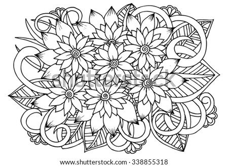 Floral drawing. Vector doodle flowers in black and white for coloring - stock vector