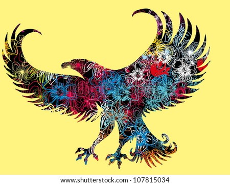 floral eagle - stock vector