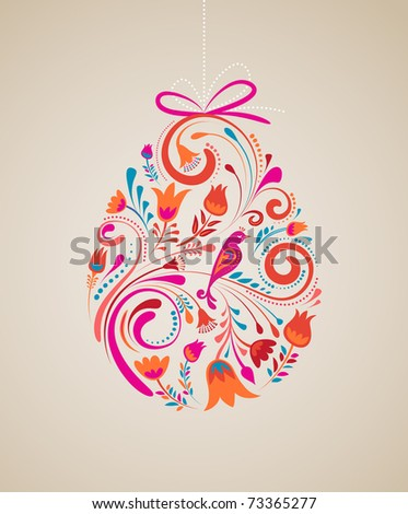 Floral Easter egg background - stock vector