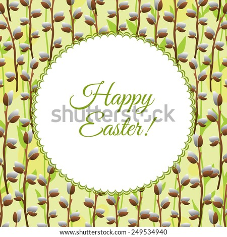 Floral easter frame. Vector background. Happy Easter. - stock vector