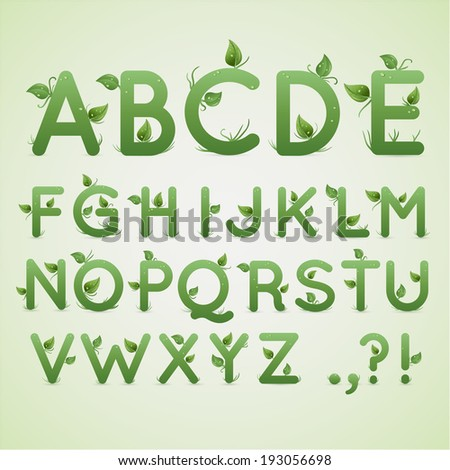 Floral ecological alphabet with green leaves and water drops, original design font. Vector illustration. - stock vector