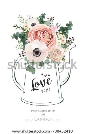 Floral Elegant Card Vector Design Rose Peach Flower White Wax Anemone Green Eucalyptus Greenery