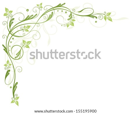 Floral element, green tendril with leaves, spring time. - stock vector