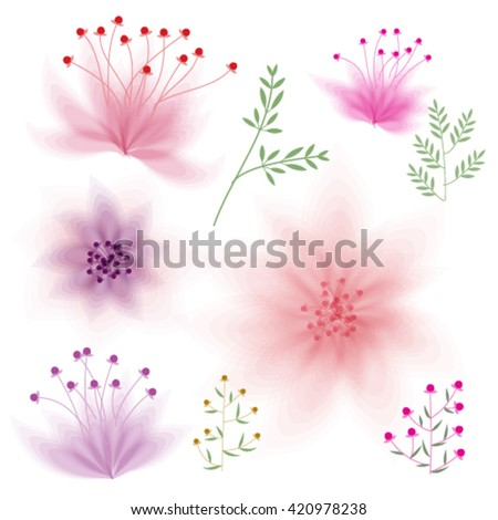 floral elements. Set of flowers for design, vector eps10 - stock vector