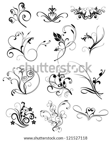 floral elements vector - stock vector