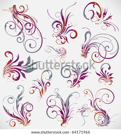 floral elements vector design collection - stock vector