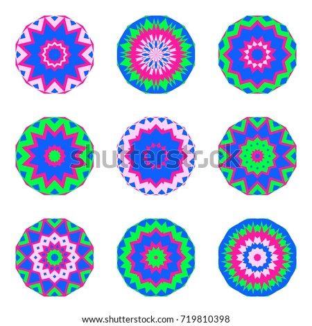 Floral emblems, round decorative ornaments isolated on white, bright colorful mandala patterns set, eastern, islamic, muslim, japanese, indian circular symbols collection.