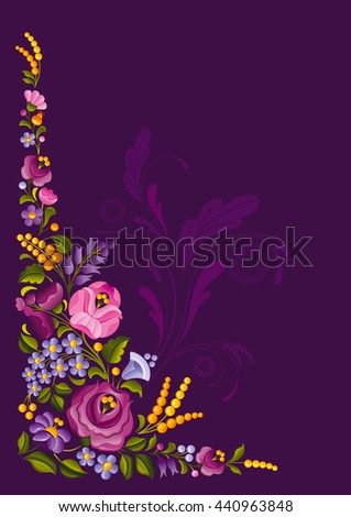 Floral embroidery design on dark violet background with traditional ornament - rose flowers, mimosa, blossom, forget me not flowers and leafs
