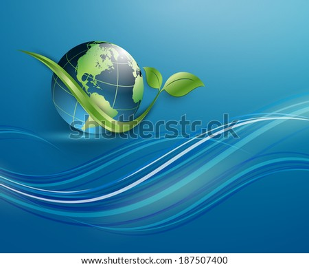 floral environmental vector frame with globe. Eps10