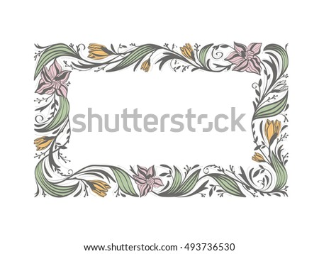 Floral Flower Decorative Frame With Copyspace