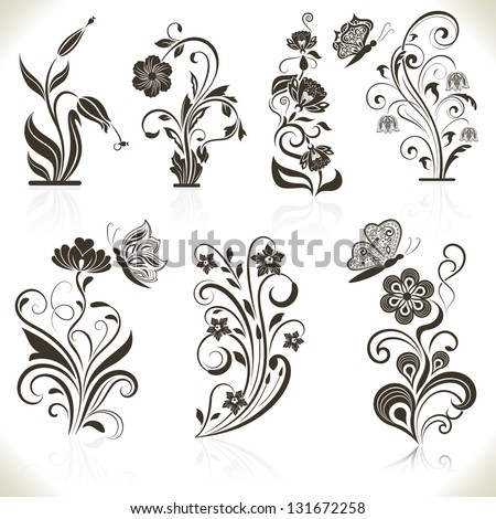 Floral flower vector design elements isolated on aged color background. Set 22. - stock vector