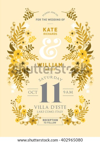 floral/flowers wedding invitation card template vector/illustration - stock vector