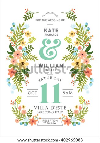 floral/flowers wedding invitation card template vector/illustration