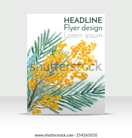 Floral flyer design, hand-drawn mimosa, painted in watercolor. Vector illustration - stock vector