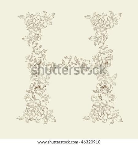 Floral font. Letter H - stock vector