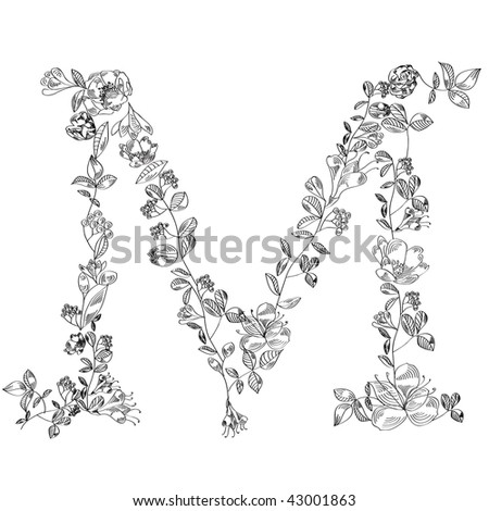 Floral font. Letter M - stock vector