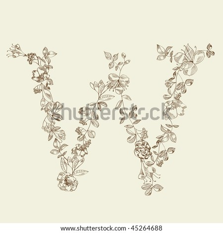 Floral font. Letter W - stock vector