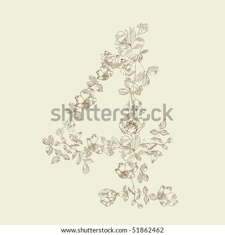 Floral font. Number 4 - stock vector