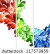 Floral fractal  ornament banner templates set - stock vector
