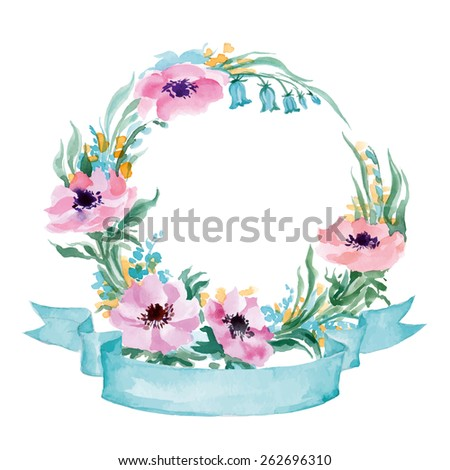 Floral Frame.  A wreath of watercolor wildflowers.  Perfect for wedding invitations and birthday cards. Template Vector. - stock vector