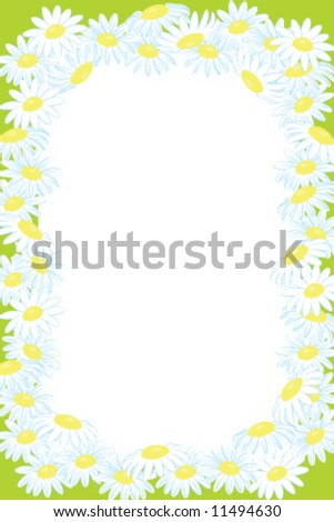 floral frame background from Camomile flower - stock vector