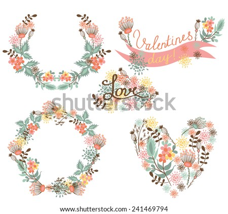 Floral Frame Collection. Floral elegance frames and holiday symbols - stock vector