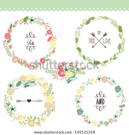 Floral Frame Collection. Set of cute retro flowers arranged un a shape of the wreath perfect for wedding invitations and birthday cards  - stock vector