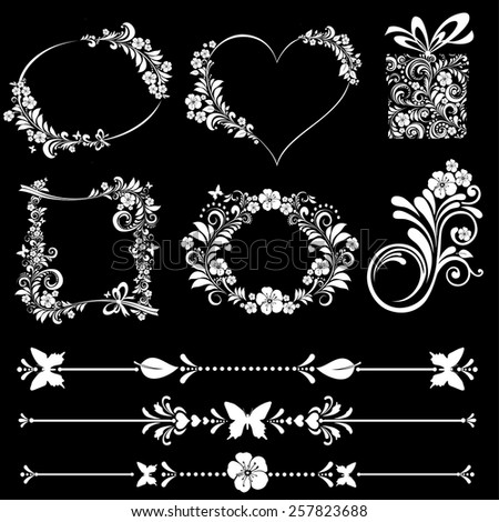 Floral Frame Collection. Set of design elements isolated on black background. Vector illustration - stock vector