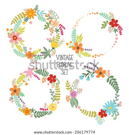 Floral Frame Collection. Set of vintage flowers arranged un a shape of the wreath. Can be used for wedding invitations and birthday cards - stock vector