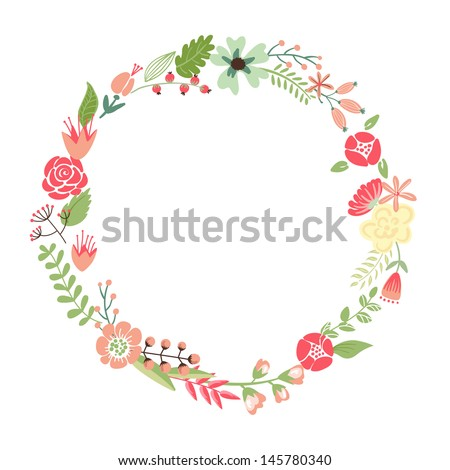 Floral Frame. Cute retro flowers arranged un a shape of the wreath perfect for wedding invitations and birthday cards - stock vector