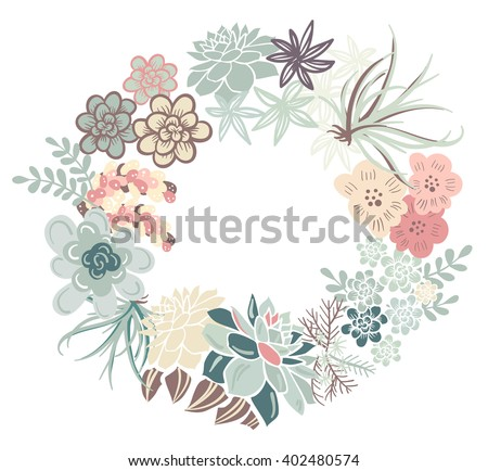 Floral Frame. Cute succulents arranged in a shape of the wreath perfect for wedding invitations and birthday cards  - stock vector