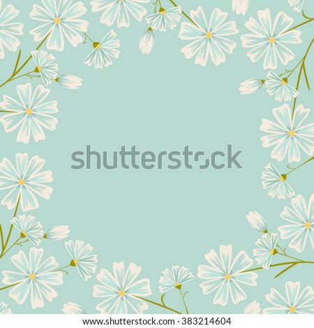 Floral frame. Daisy flowers design. Blue flowers.  - stock vector