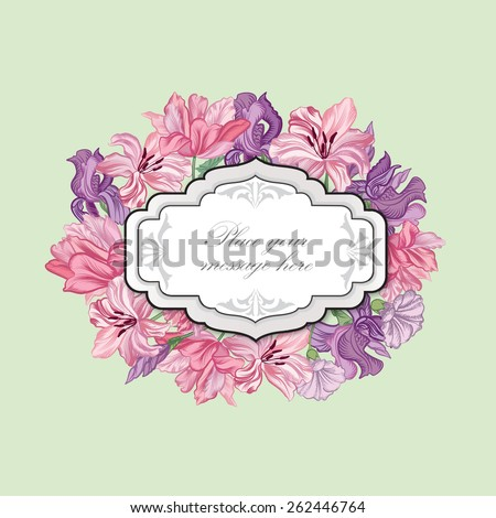 Floral frame. Flower bouquet background. Vintage flourish spring card or cover. - stock vector