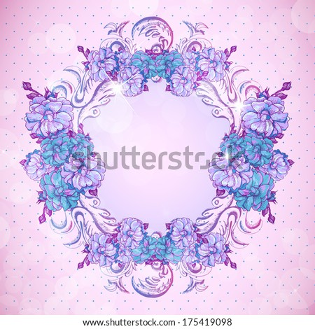 Floral frame in vintage style - stock vector