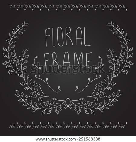 Floral frame on black background with place for your text. Doodle elements, hand-drawn foliage. Vector illustration - stock vector