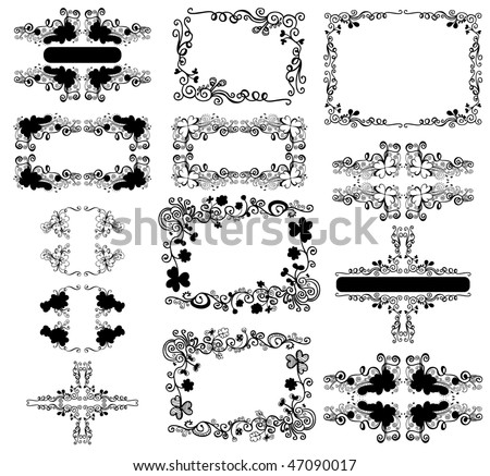 floral frame set for text - stock vector