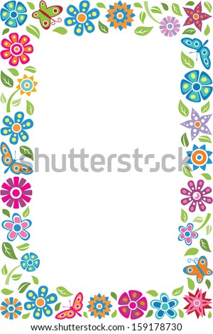 Floral frame with butterflies - stock vector
