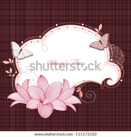 Floral frame with butterflies and flower lily. Element for design. Vector illustration. - stock vector