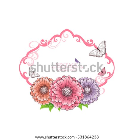 Floral frame with butterflies, flower chamomile and birds. Element for design. Vector illustration.
