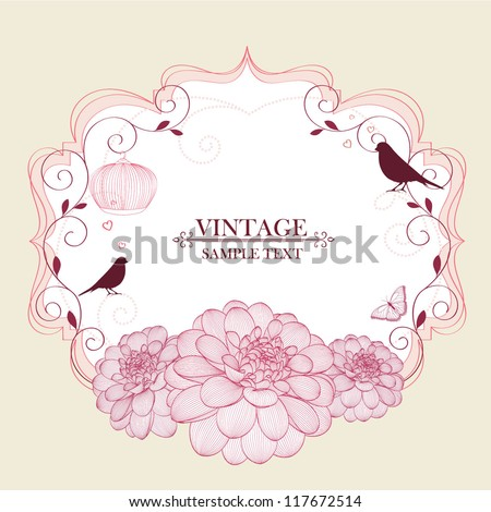 Floral frame with butterfly, birds and flower dahlia. Element for design. Vector illustration. - stock vector