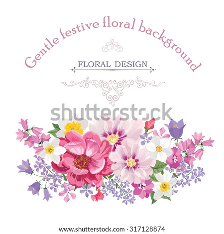 Floral frame with summer flowers. Floral bouquet with rose, narcissus, carnation, lilac and wildflower. Vintage Greeting Card with flowers. Watercolor flourish border. Floral background. - stock vector