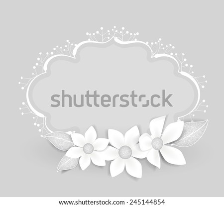 Floral frame with white flowers with place for text - stock vector