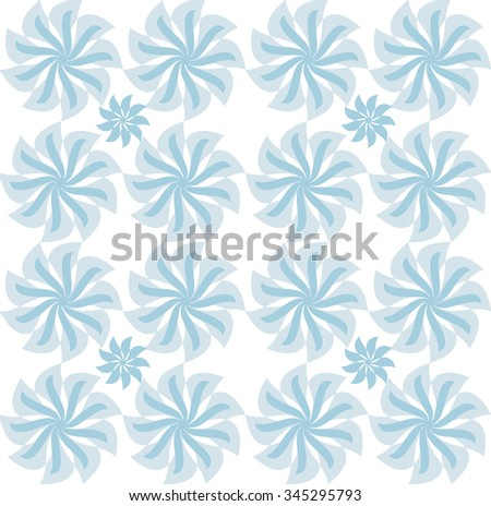 Floral geometric pattern. Blue flowers.