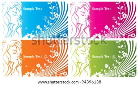 Floral girl - abstract spring woman background with flowers and butterfly - stock vector