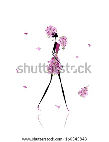 Floral girl for your design - stock vector