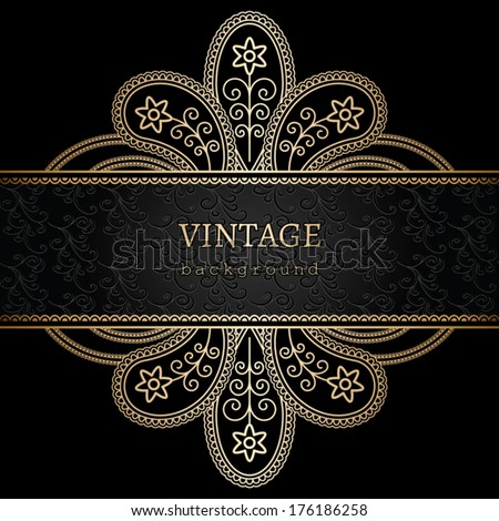 Floral gold ornament on black background, golden vector frame - stock vector