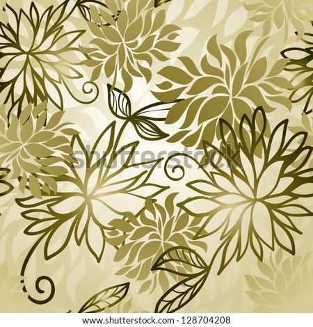 Floral golden modern wallpaper - stock vector